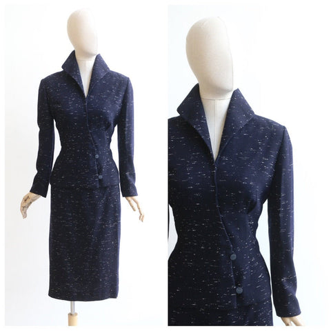 Vintage 1950's Lilli Ann Suit vintage 1950's Navy Blue Wool Flecked Suit Wool Flecked Lilli Ann original 50's skirt suit Lilli Ann UK 10-12