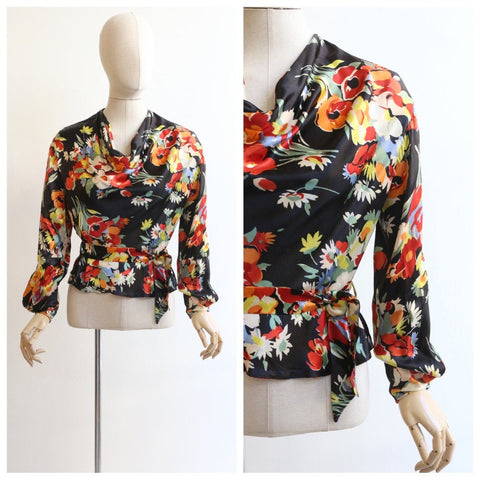 Vintage 1930's blouse vintage 1930's silk floral blouse original 1930s blouse satin floral silk cowl neck blouse original thirties UK 10