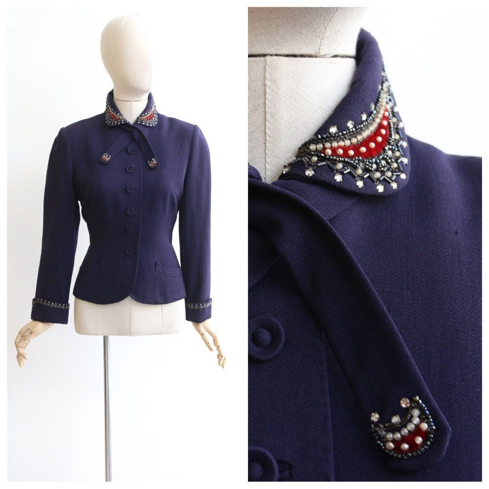 Vintage 1940's jacket vintage 1940's navy blue wool fitted jacket 1940's embellished jacket 1940's navy fitted jacket original 40s UK 8-10