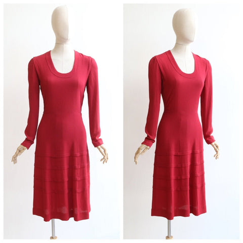 Vintage 1930's dress vintage 1930's crepe silk dress original 1930's red dress 1930's red silk dress 1930 fashion original 30s dress UK 8-10