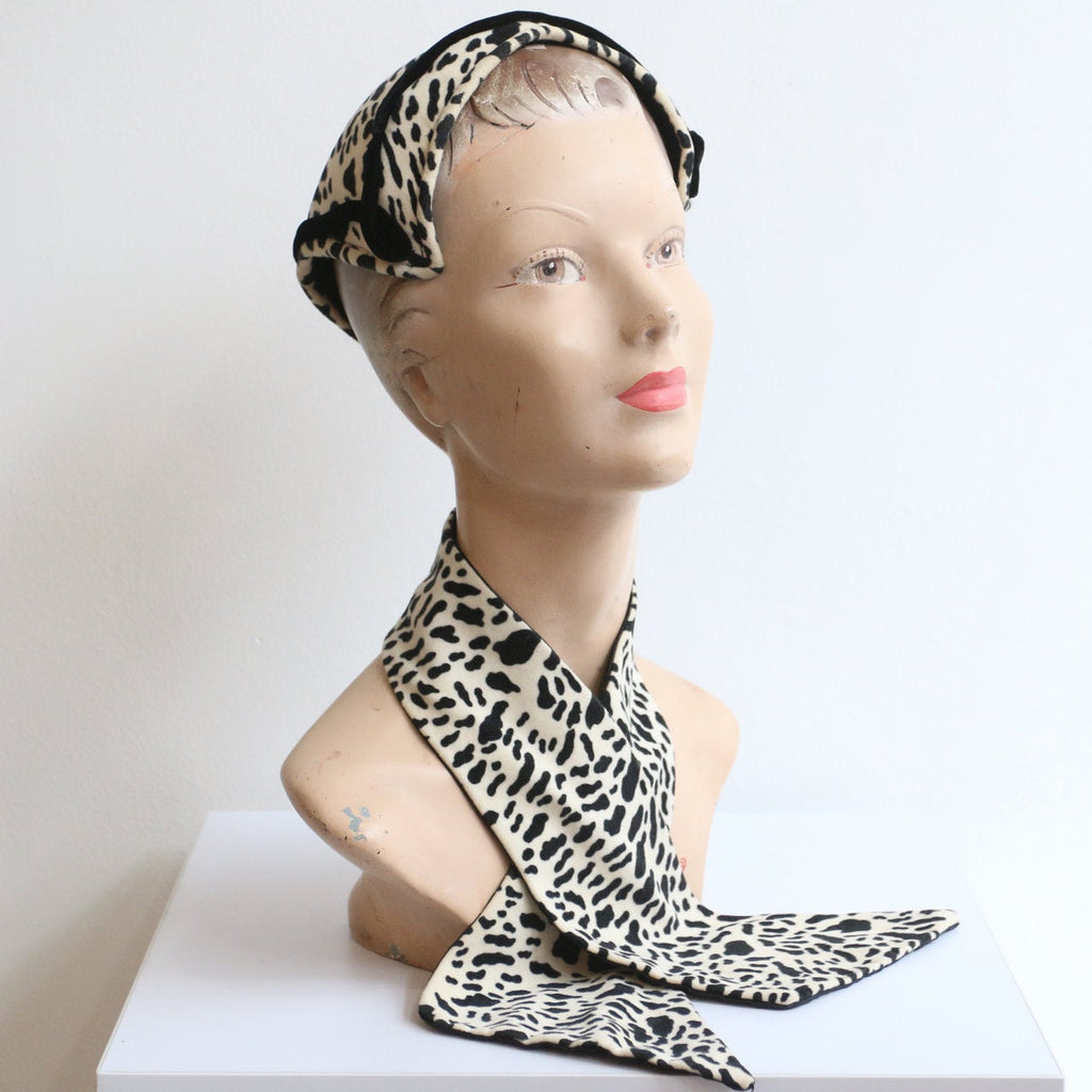 Vintage 1950's hat and matching scarf set vintage 1950's leopard print hat and matching scarf 1950's hat vintage fifties velvet hat scarf