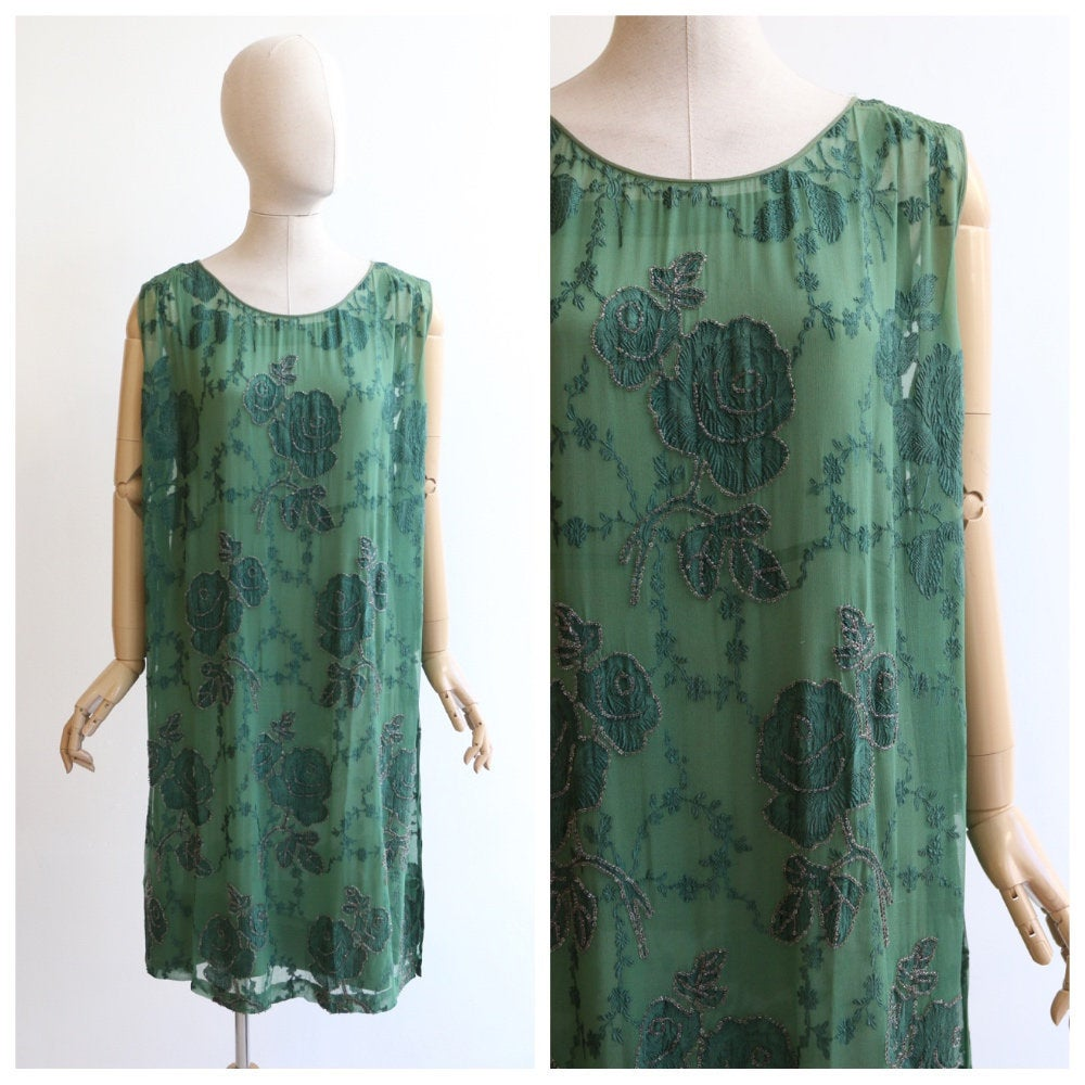 Vintage 1920's dress vintage 1920's flapper dress vintage 1920's silk dress original 1920's green silk dress 1920's floral beaded UK 10