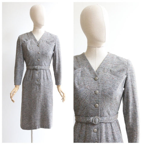 Vintage 1950's dress vintage 1950's wool wiggle dress original 1950's speckled wool wiggle dress fifties day dress original 1950s UK 10
