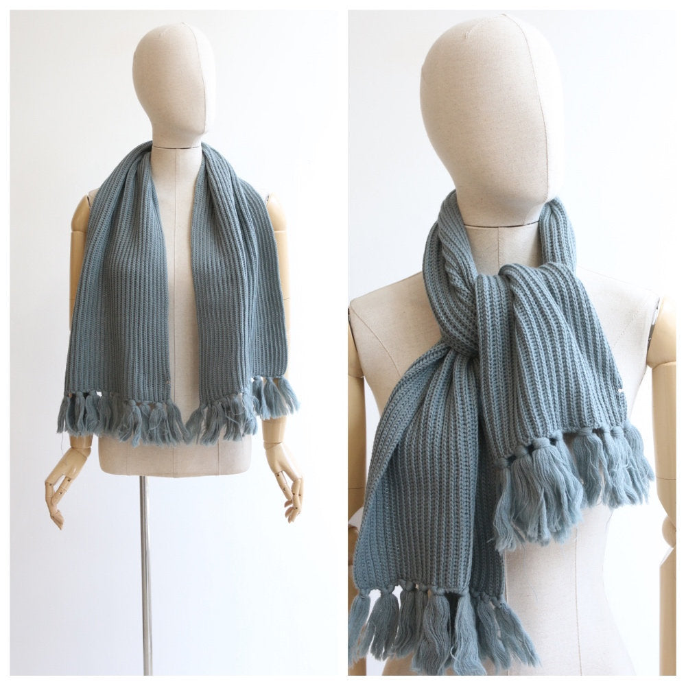 Vintage 1950's scarf vintage 1950's wool scarf original 1950's french grey deadstock wool winter original 1950s winter scarf wool knitted