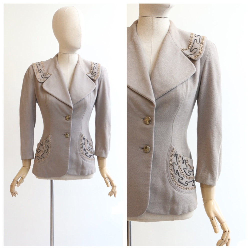 Vintage 1940's jacket original 1940s fitted jacket 1940's wool jacket forties grey jacket 1940's grey beaded jacket soutache beaded UK 12