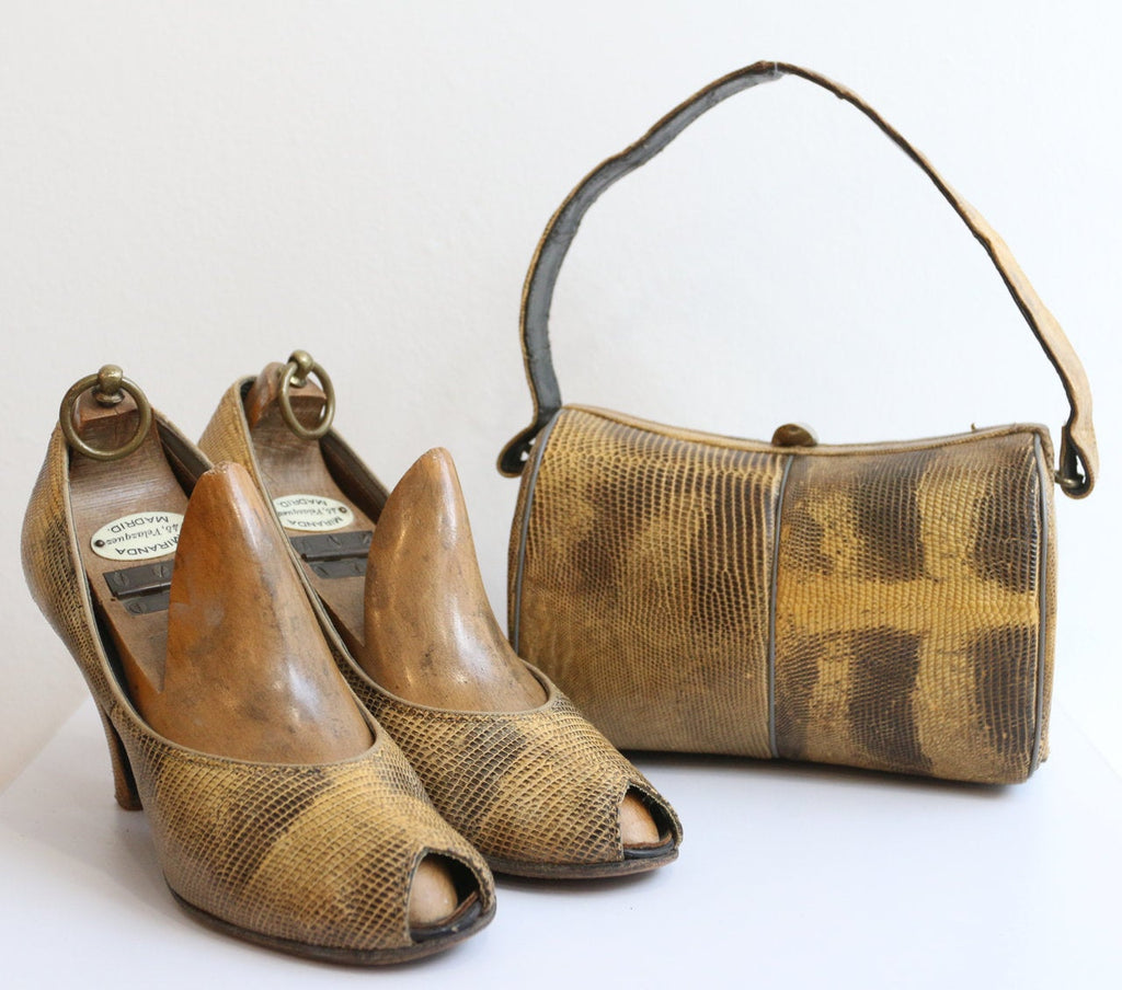 Vintage 1940's Shoes vintage 1940's matching bag and shoes set original forties lizard skin box bag peep toe shoes 1940s matching set UK 4.5