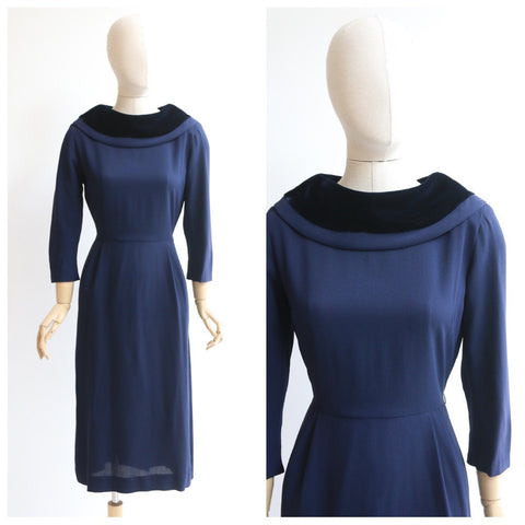 Vintage 1950s dress original 1950's day dress 1950's navy blue dress 1950's wiggle dress original 1950 navy blue dress velvet collar UK 8-10