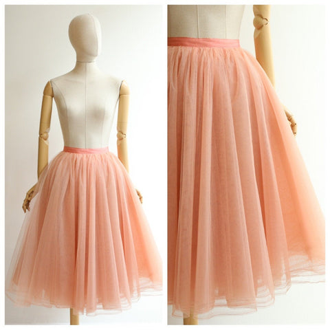 Vintage 1950's tulle skirt vintage 1950's petticoat skirt original 1950's pink tulle layered skirt fifties tutu original petticoat pink UK 6