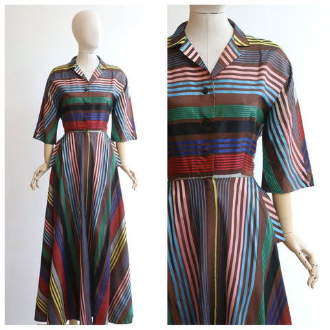 Vintage 1940's dress vintage 1940's multicoloured taffeta silk dress original 1950's pinstripe multi-coloured silk dress original UK 12-14