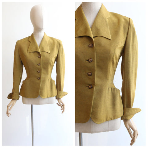 Vintage 1940's jacket vintage 1940's fitted jacket original 1940's chartreuse green jacket forties fashion 1940's gabardine jacket UK 8-10