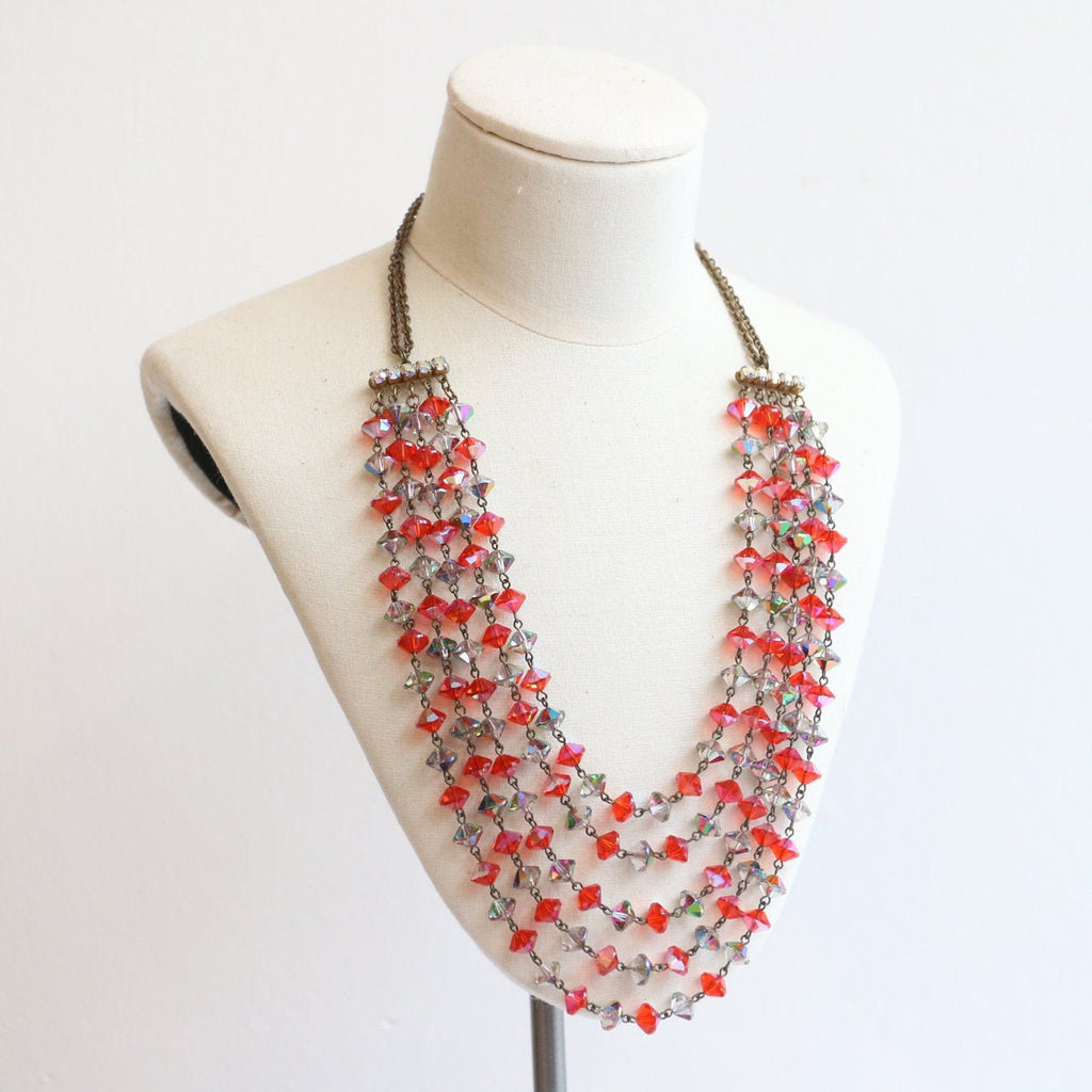 Vintage 1950's necklace vintage 1950's glass beaded multi strand necklace original fifties midcentury multi-brand jewellery 1950s grey red