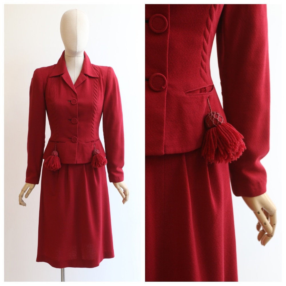Vintage 1940's suit vintage 1940's red wool suit original 1940s skirt suit 1940 wool tassel suit embellished braided tailored suit UK 6 UK 8