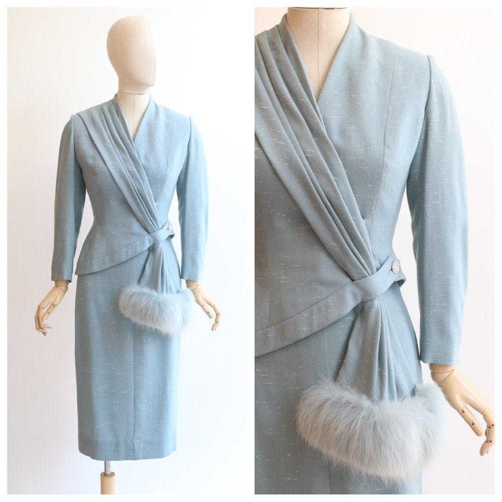 Vintage 1950's Lilli Ann Suit vintage 1950's blue lilli ann fox cuff suit asymmetrical wool suit 1950s Lilli Ann Couture suit UK 6-8