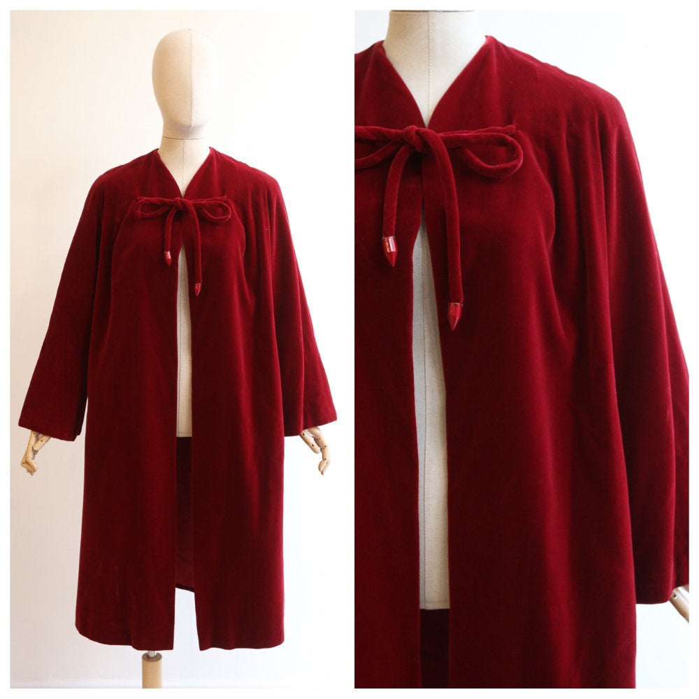 Vintage 1950's velvet coat vintage 1950's red velvet coat original velvet coat 1950's red coat 1950's evening coat red velvet coat UK 10-14