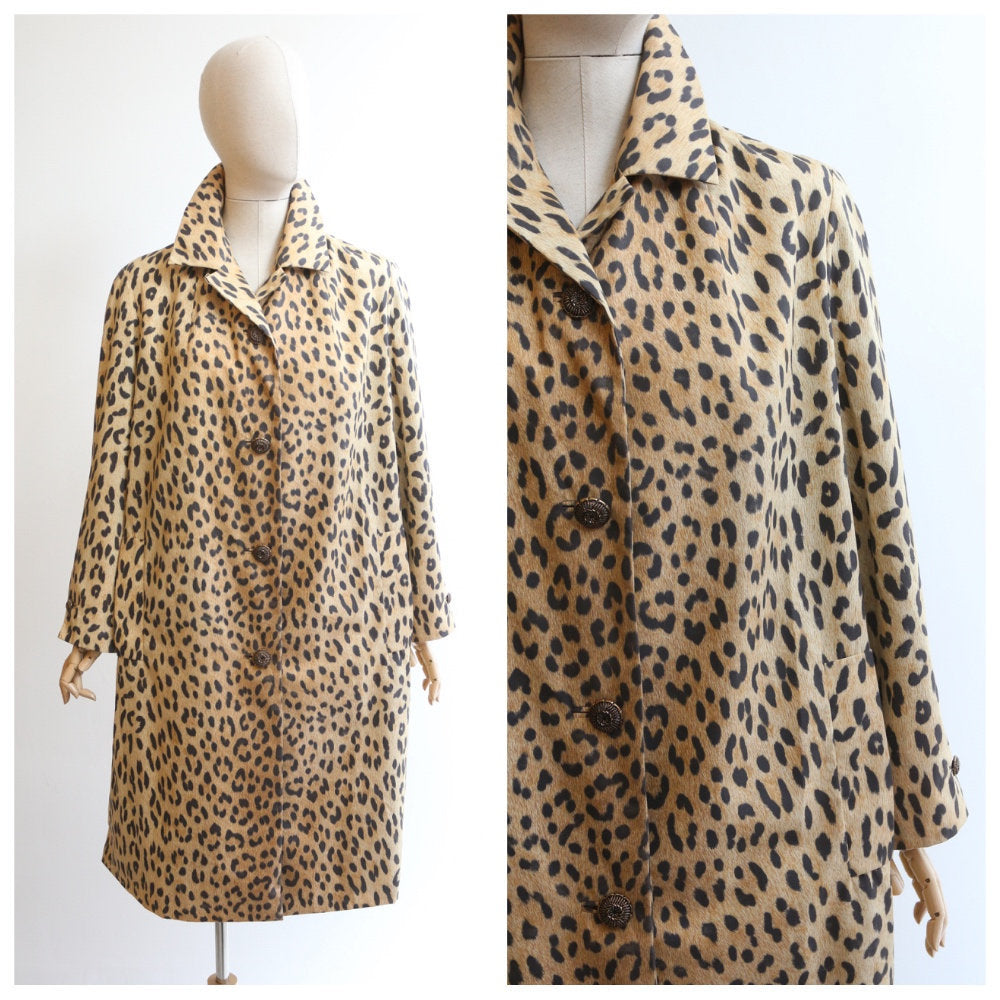 Vintage 1960's Leopard print coat vintage 1960's leopard print mac original sixties leopard patter coat sixties fashion leopard trench UK 14