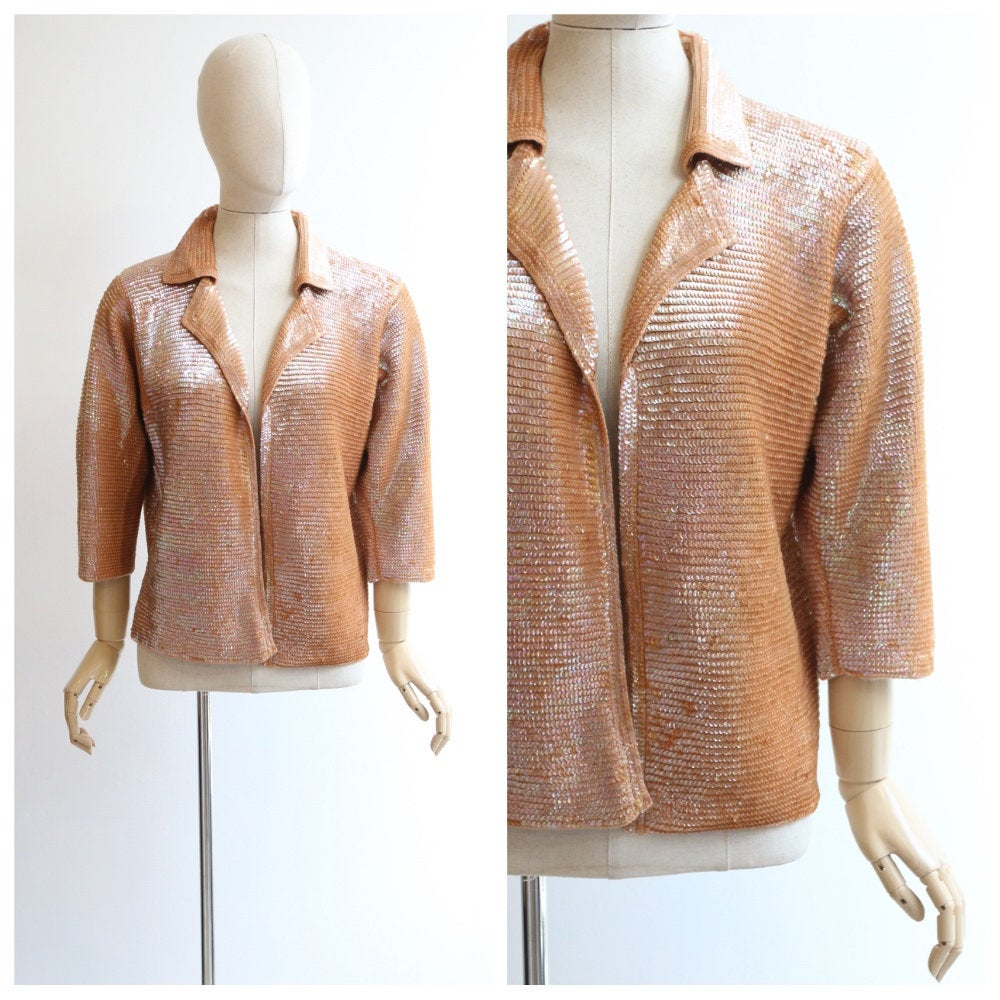 Vintage 1960's Sequin cardigan vintage 1960's coral sequin cardigan sequin embellished knitted cardigan original sixties knitwear UK 12-14