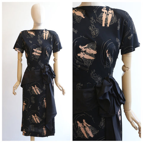 Vintage 1940's dress vintage 1940's silk dress 1940's novelty print dress original 1940's silk novelty print dress forties fashion UK 8-10