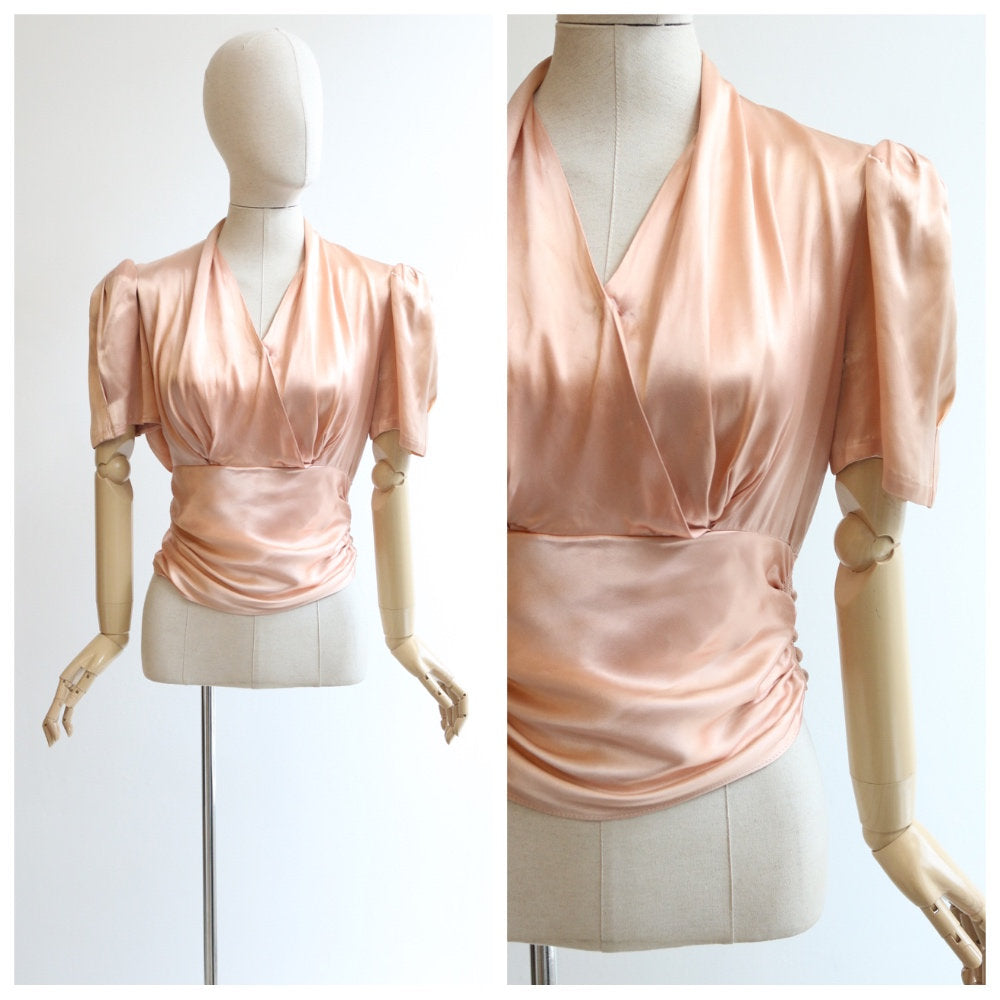 Vintage 1940's blouse vintage 1940s silk sating blouse original 1940's satin ruched blouse forties fashion 1940s silk top 1940s UK 10