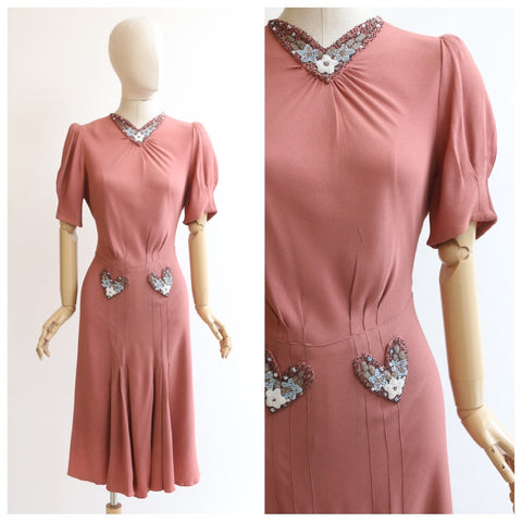 Vintage 1940's dress vintage 1940's beaded dress original forties pink dress 1940's beaded crepe silk dress blush pink dress 1940s UK 10-12