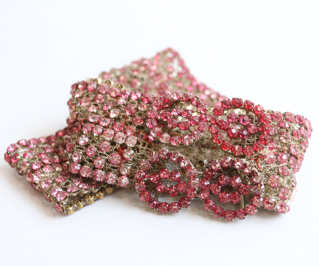 Vintage 1920's belt original 1920's flapper belt 1920s art deco rhinestone belt 1920s flapper belt original twenties pink sparkling belt