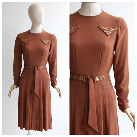 Vintage 1940's dress vintage 1940's cinnamon dress original 1940's crepe silk studded dress forties fashion 1940s crepe silk stud dress UK 8