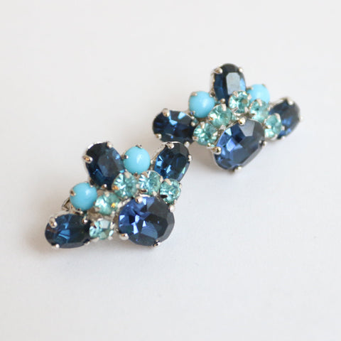 Vintage 1950's Christian Dior Mitchel Maer Earrings Mitchel Maer jewellery 1950 couture rhinestone Christian Dior Rare Fifties Dior Clip ons
