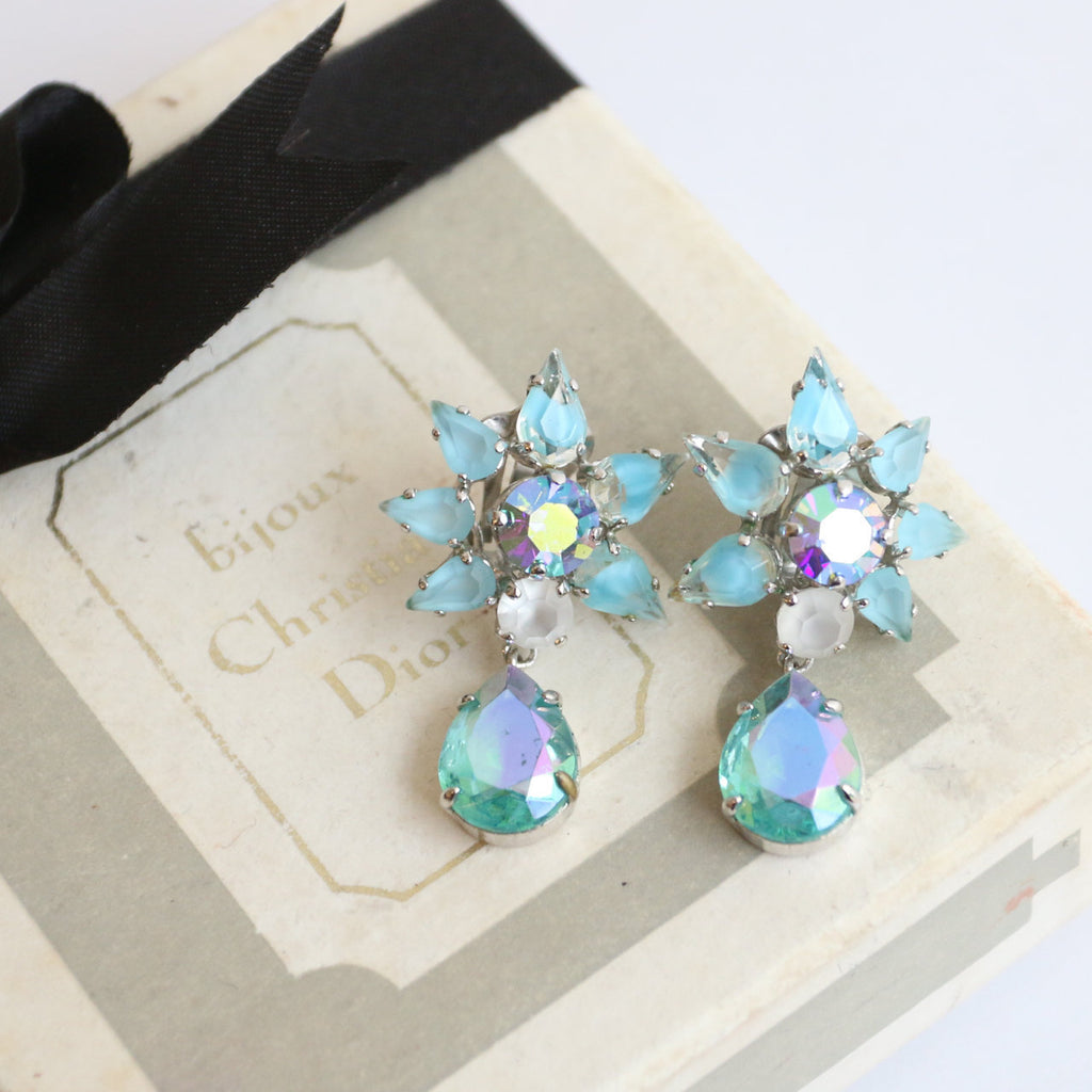 Vintage 1950's Christian Dior Earrings vintage 1950s Christian Dior Clip on earrings fifties rhinestone Dior Clip on earrings rhinestones
