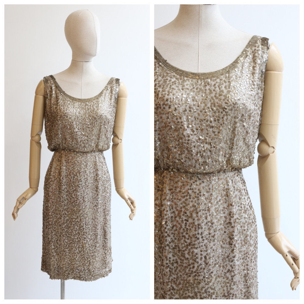Vintage 1960's dress vintage 1960s sequin wiggle dress original 1960's gold sequin dress sixties sequin cocktail dress sixties dress UK  12