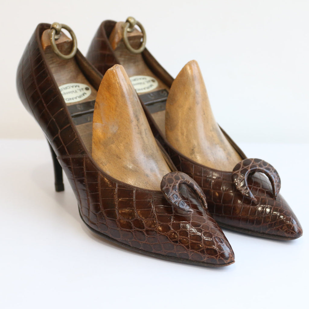 Vintage 1950's Couture Shoes vintage 1950's Roger Viver Christian Dior Roger vivier alligator stiletto shoes original 1950s Dior shoes UK 5
