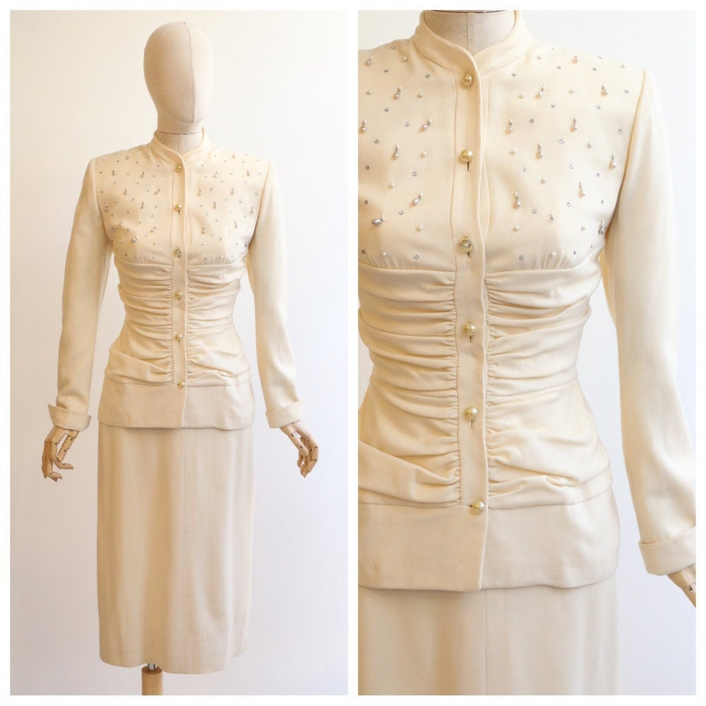 Vintage 1940's Lilli Ann suit vintage 1940's cream lilli ann skirt suit original forties embellished rhinestone couture 1940 Lilli ann UK 8