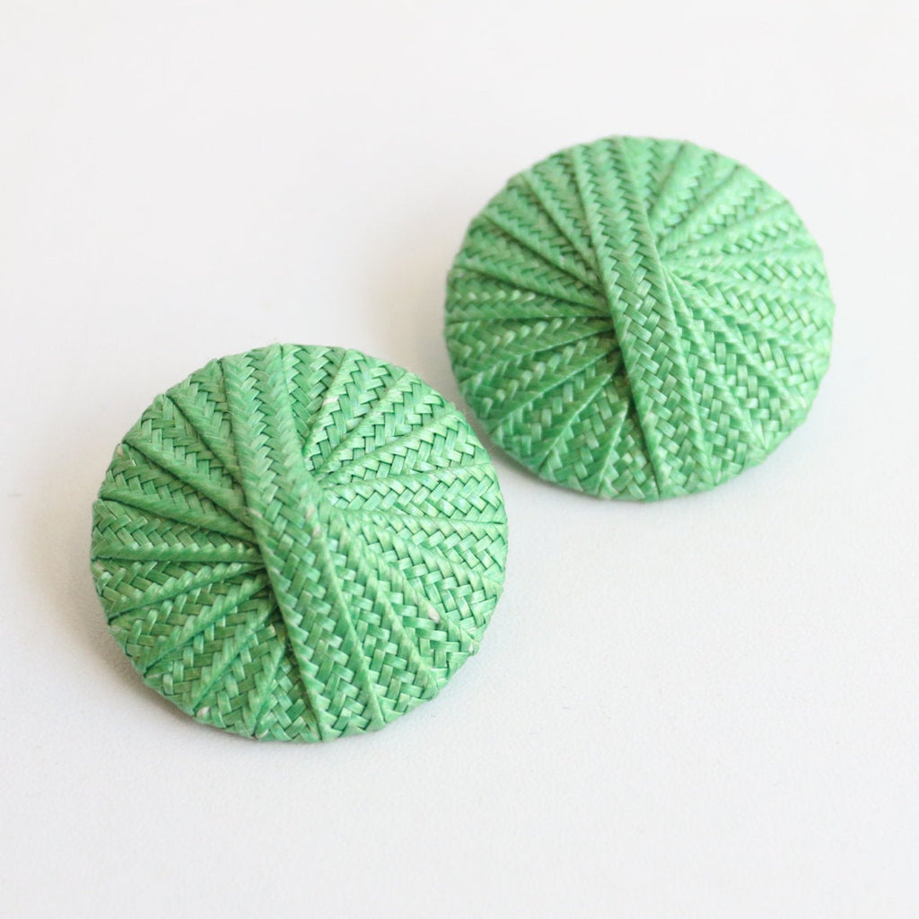 Vintage 1950's earrings vintage 1950's raffia earrings 1950's large green raffia clip on earrings original 1950's earrings fifties clip ons