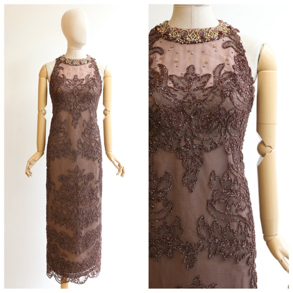 Vintage 1960's Neymar couture dress vintage 1960's beaded evening dress vintage 1960's evening gown 1960's soutache lace dress couture UK 12
