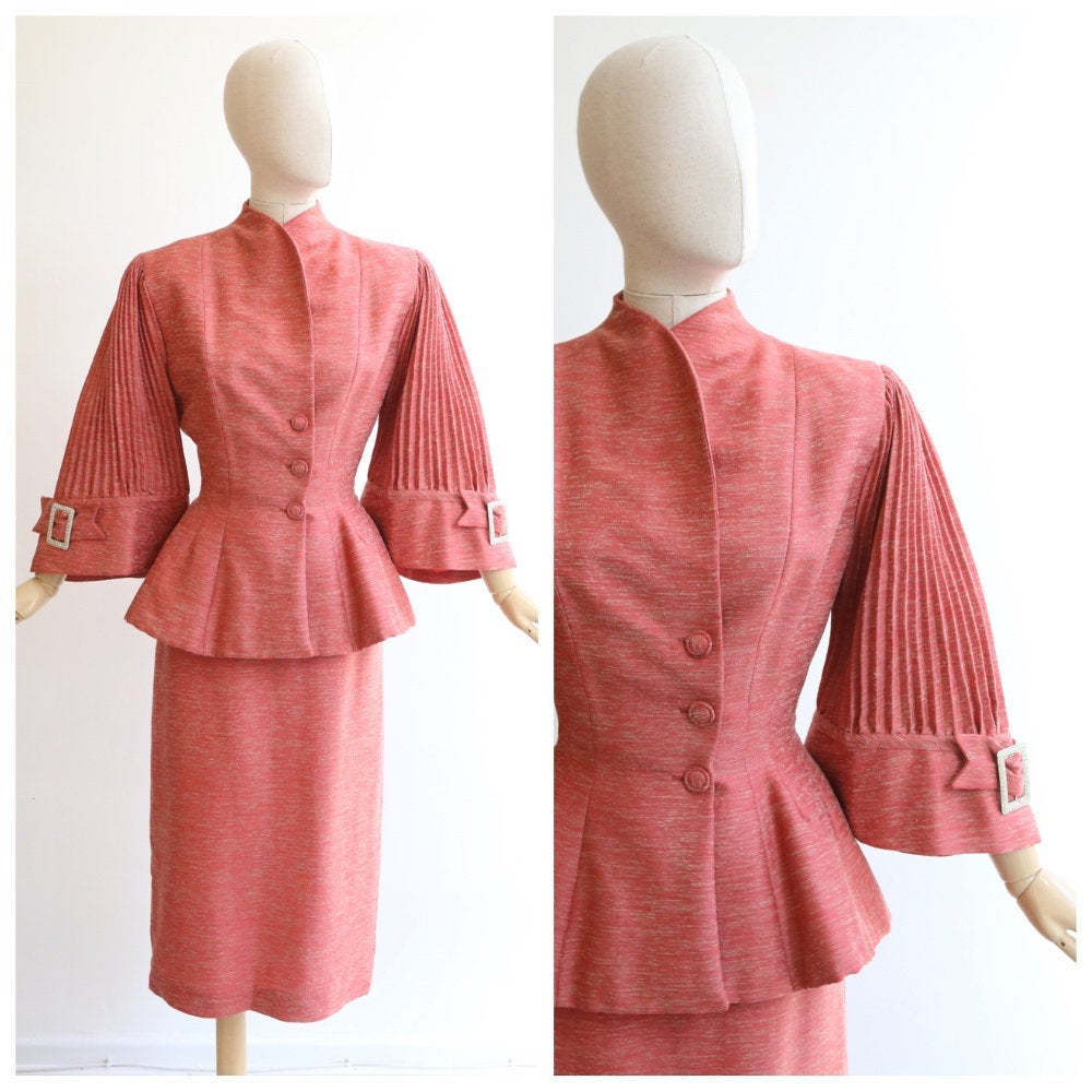 Vintage 1940's lilli ann suit original 1940s suit 1940s pleated sleeve lilli ann suit forties couture original speckled lilli ann skirt suit
