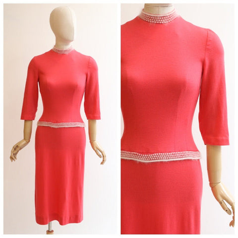 Vintage 1950's wiggle dress vintage 1950's coral pink wool dress original 1950s knitted dress knit jersey dress 1950s wiggle dress UK 8