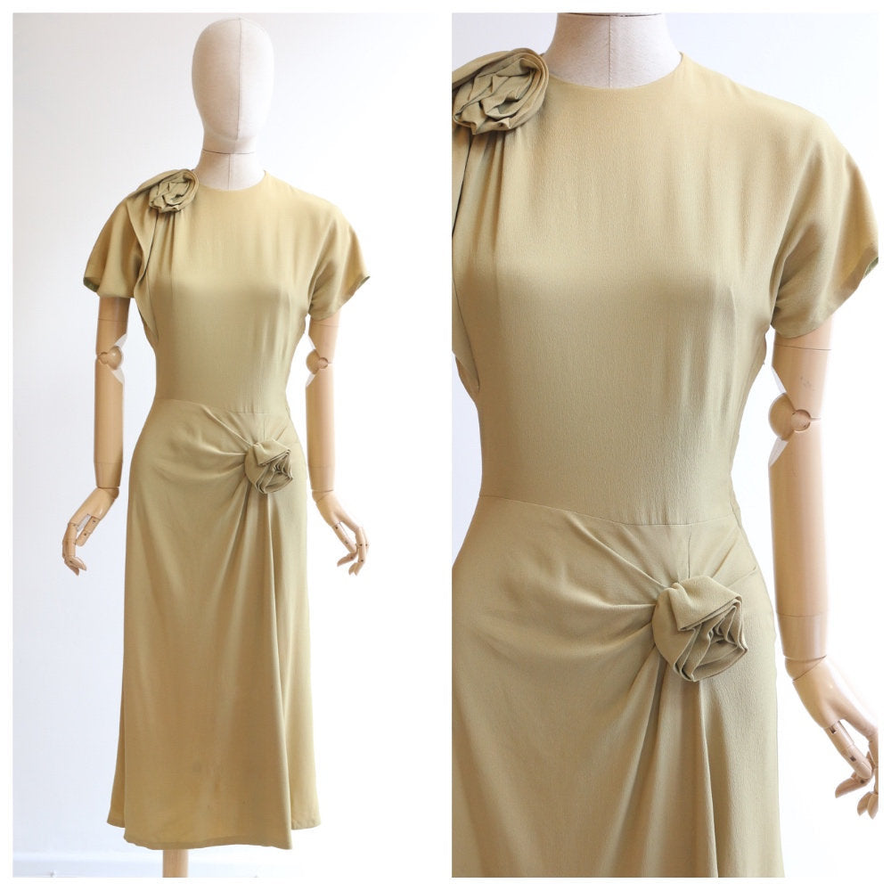 Vintage 1940's dress original 1940's crepe silk dress 1940's chartreuse green dress 1940's rosette dress forties fashion 1940s dress UK 6-8