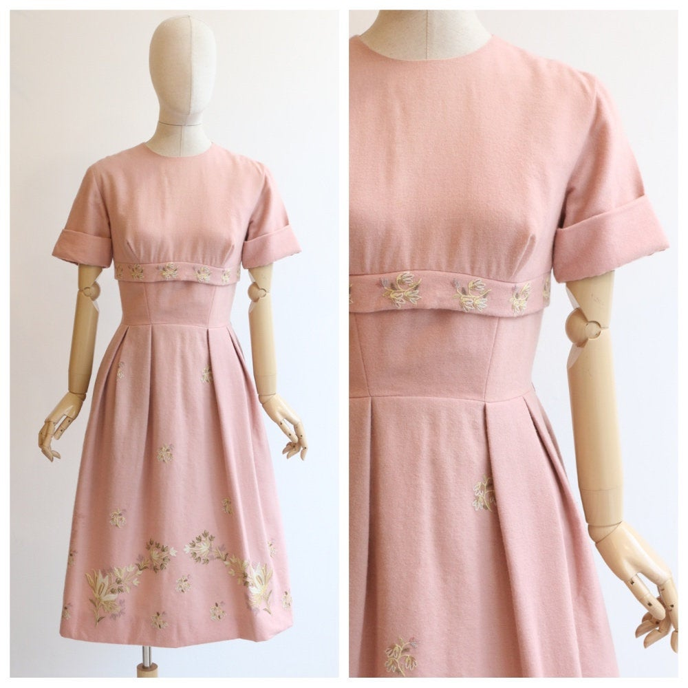 Vintage 1940's dress vintage 1940's wool dress vintage 1940's liberty of london dress 1940s pink wool crewelwork dress crewel stitch UK 12