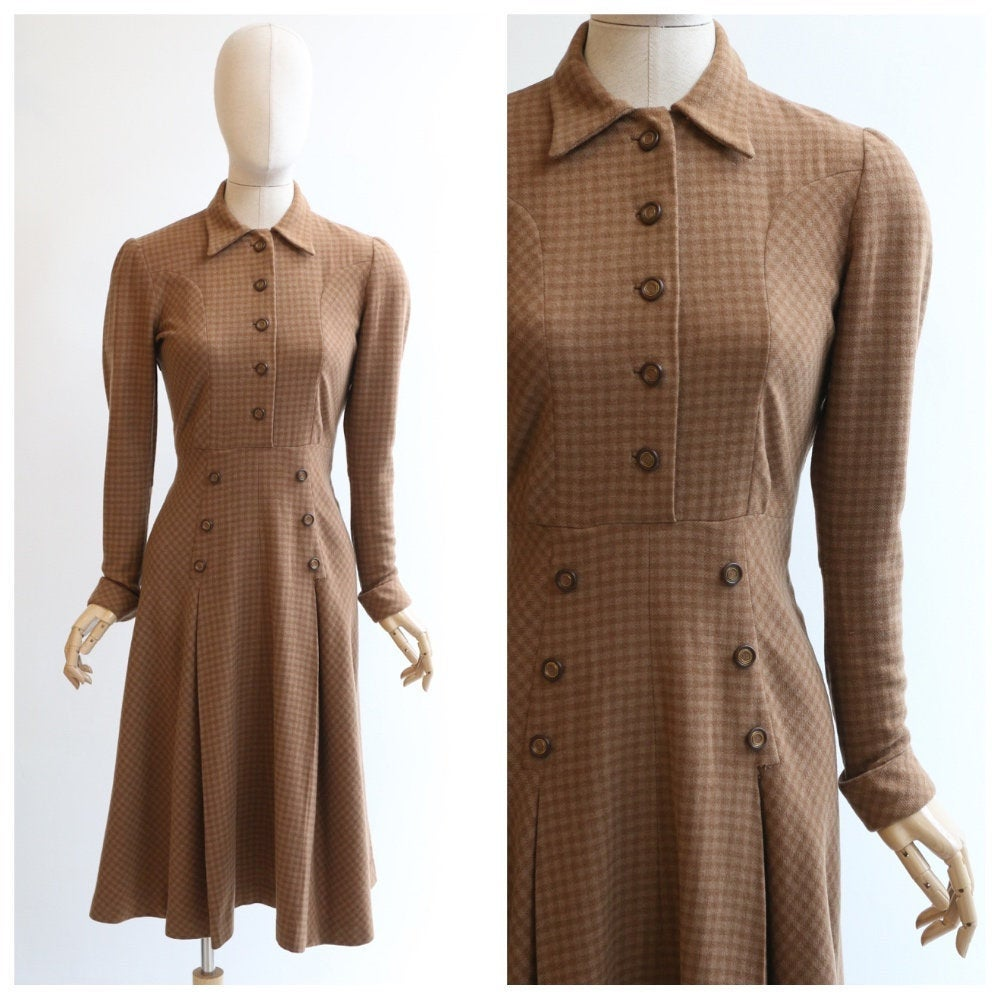 Vintage 1940's dress vintage 1940's wool dress original 1940's check pattern wool dress brown wool day dress original 1940's fashion UK 10