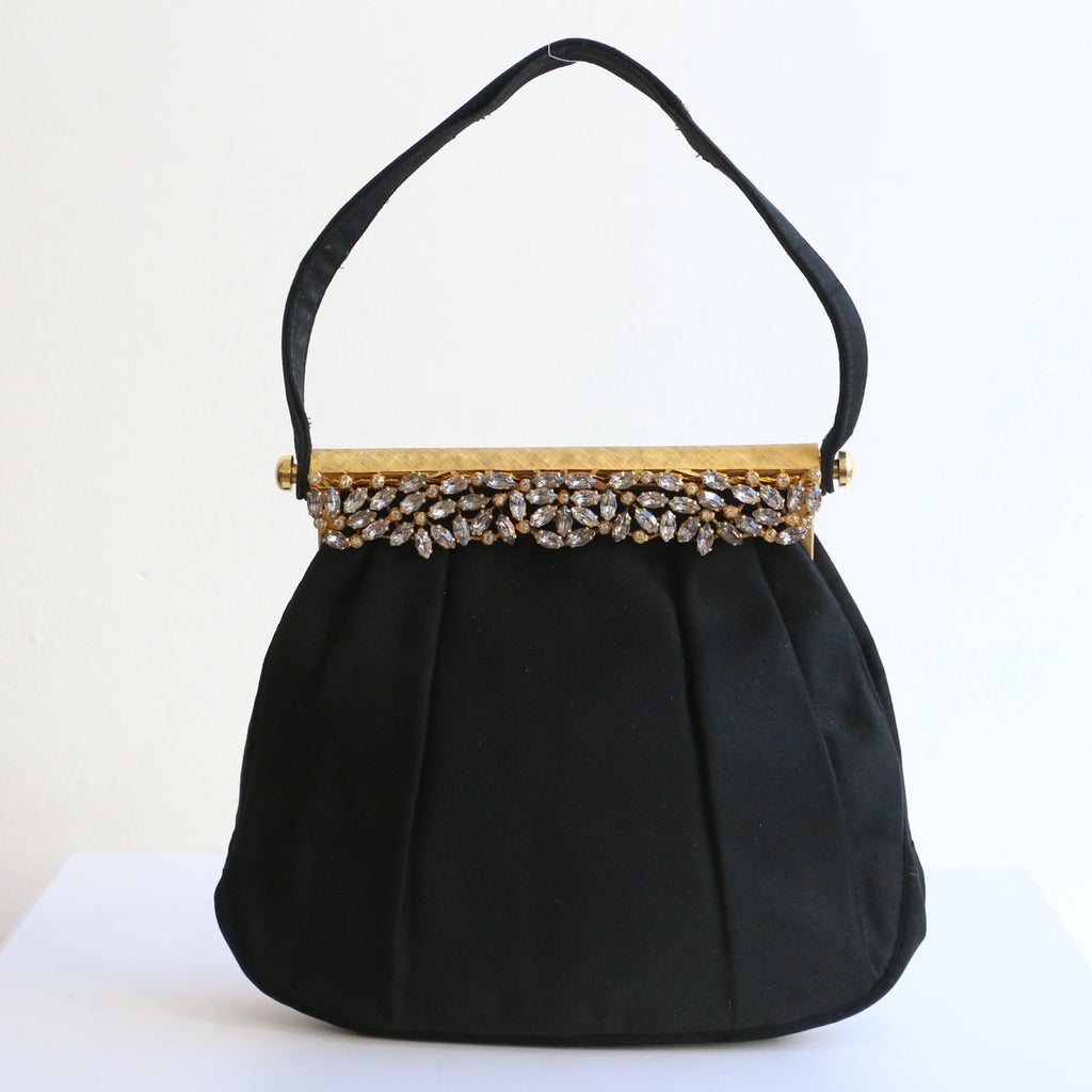 Vintage 1950's evening bag vintage 1950's black satin rhinestone evening back 1950s cocktail bag silk satin rhinestone clasp handbag