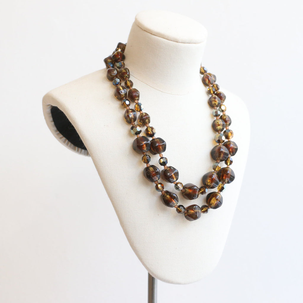 Vintage 1950's necklace vintage 1950's glass necklace 1950's brown beaded necklace 1950 glass beaded multi strand necklace fifties jewellery