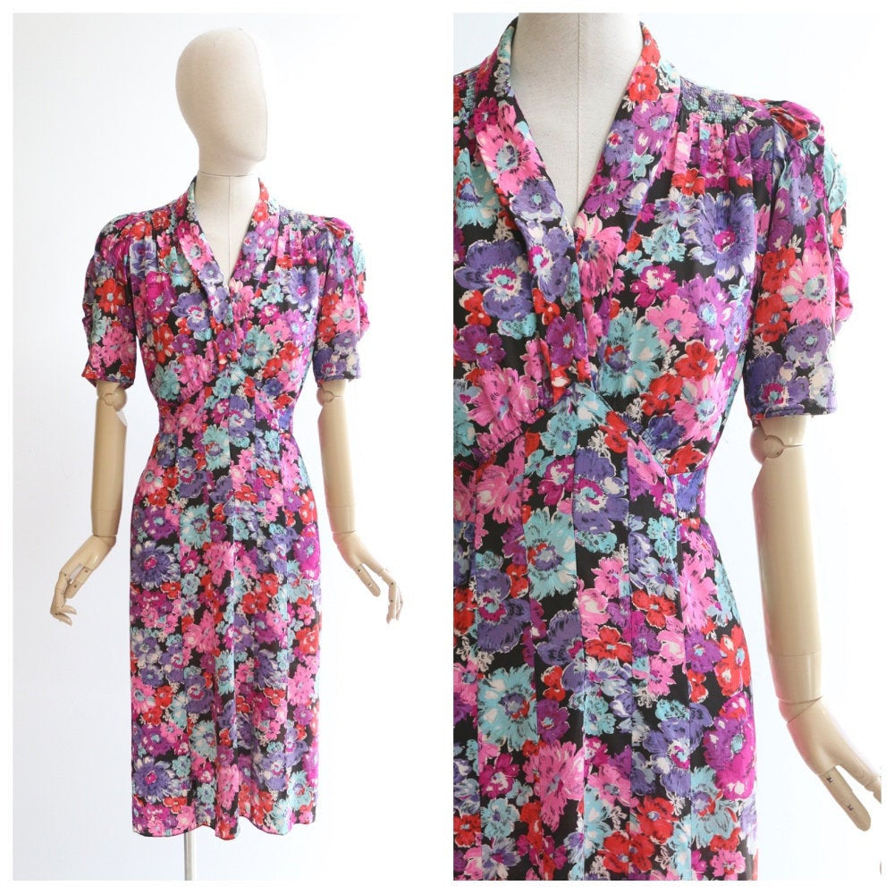 Vintage 1940's silk dress vintage 1940's silk floral dress original forties day dress 1940's floral tea dress brightly coloured UK 10
