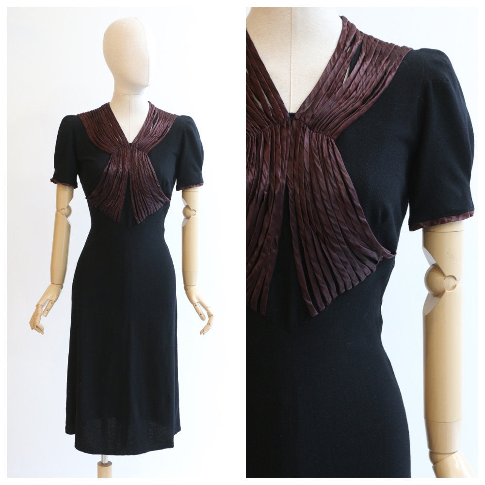 Vintage 1930's black dress vintage late 1930's ribbon work dress 1930's black crepe wool satin dress original early 1940s dress UK 10