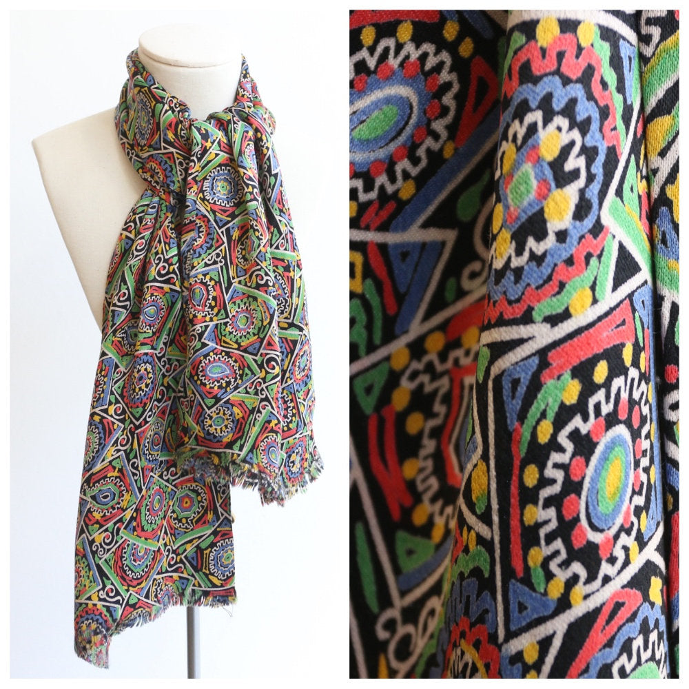 Vintage 1930's silk scarf original 1930's silk paisley neck scarf 1930's silk satin scarf abstract paisley pattern original art deco scarf