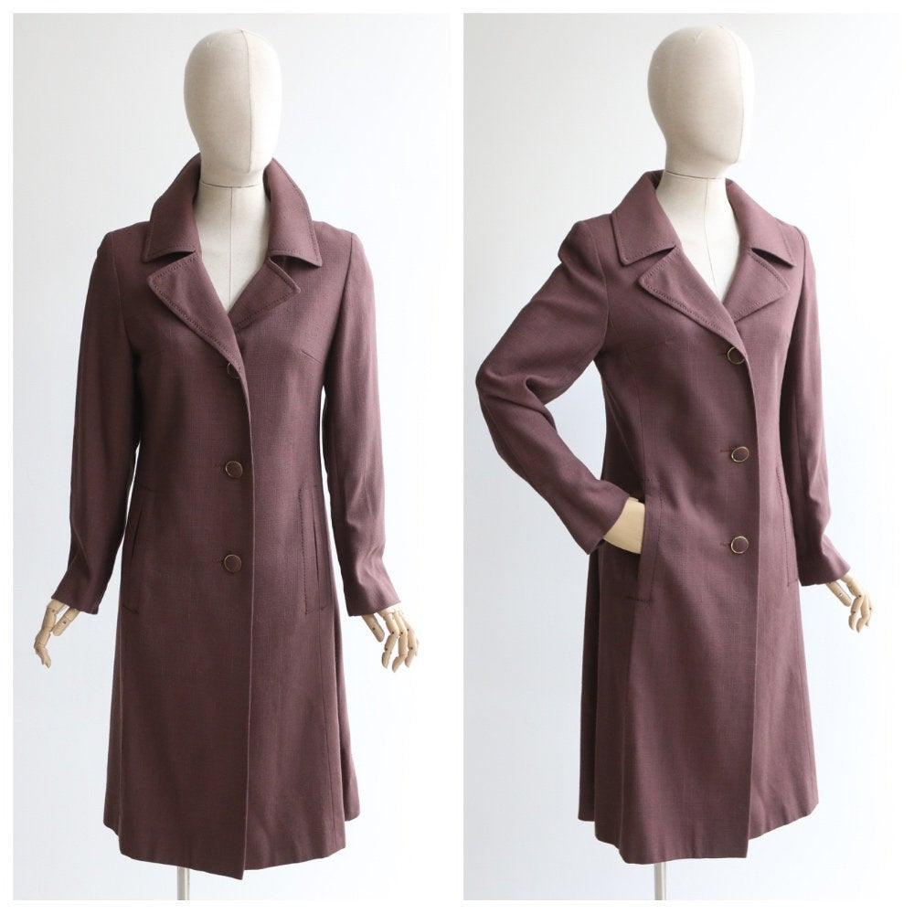 Vintage 1960's coat vintage 1960's spring coat original 1960's deep burgundy lightweight coat 1960's brown deep purple spring coat UK 10-12