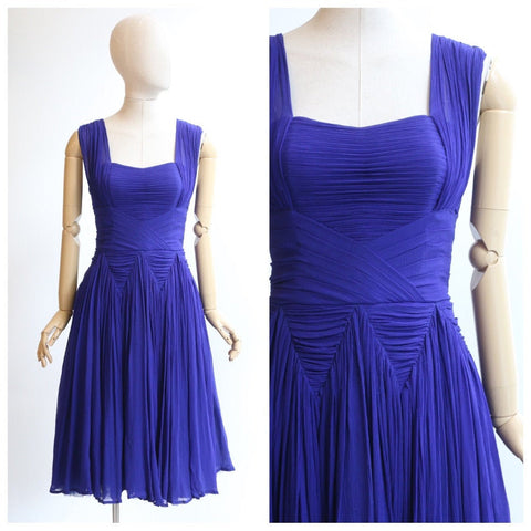 Vintage 1950's dress 1950's pleated dress 1950's cobalt blue silk chiffon dress original 1950 Jean Dessès style dress pleated dress UK 8-10