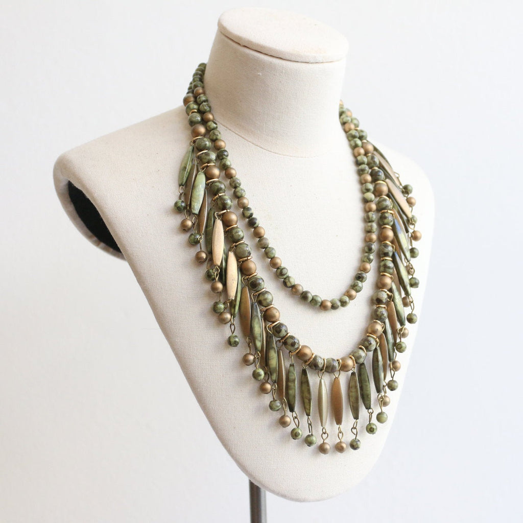 Vintage 1950's necklace vintage 1950's beaded necklace 1950's multi strand necklace vintage green necklace gold multi strand jewellery 50s