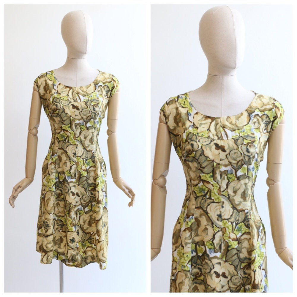 Vintage 1950's dress original 1950's floral dress green and yellow dress 1950's silk day dress fifties dress original 1950s dress UK 14-16