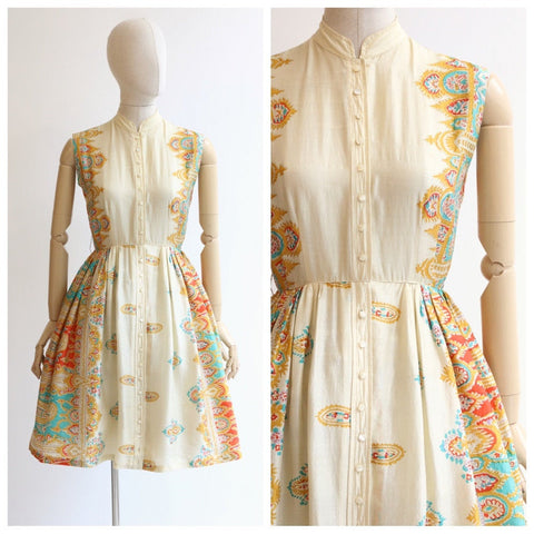 Vintage 1950's silk dress vintage 1950's silk paisley dress original 1950 cream silk shirtwaist dress original fifties day dress 1950s UK 8
