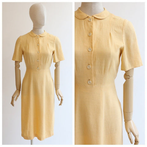 vintag 1940's dress vintage 1940's yellow linen dress original forties linen dress 1940's day dress 1940's yellow linen dress UK 10-12