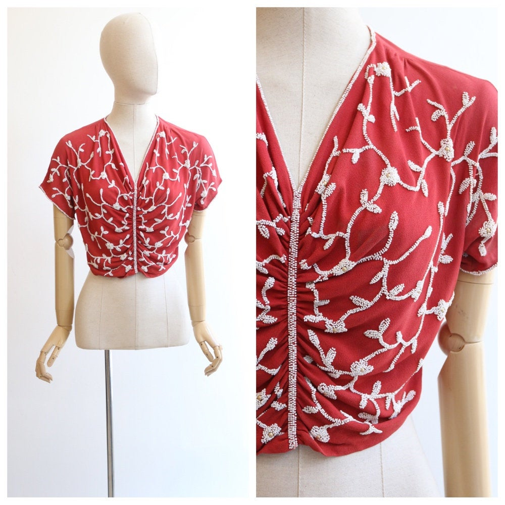 Vintage 1930's blouse vintage 1930's beaded blouse original 1930's crepe silk blouse 1930's cropped beaded blouse red silk top UK 10