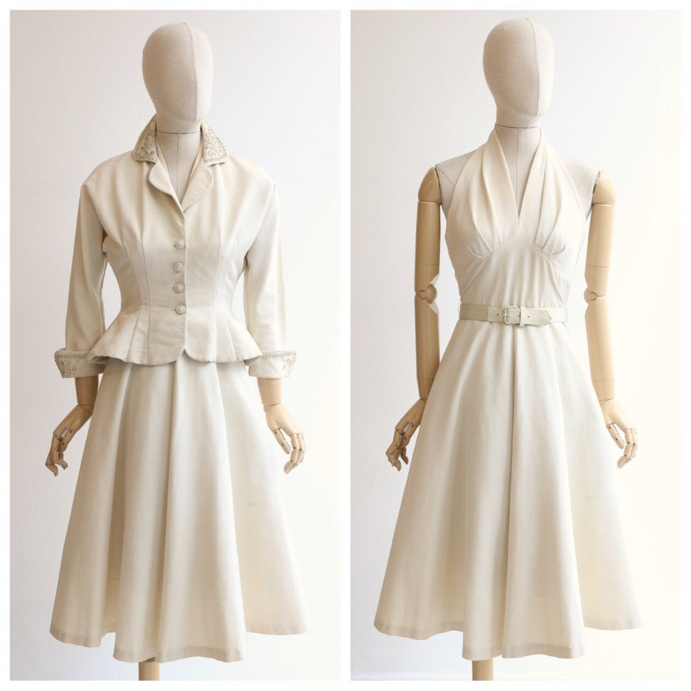 Vintage 1940's dress and jacket vintage 1940's suit original 1940's cream dress and fitted jacket late 1940's Dior style set UK 6-8